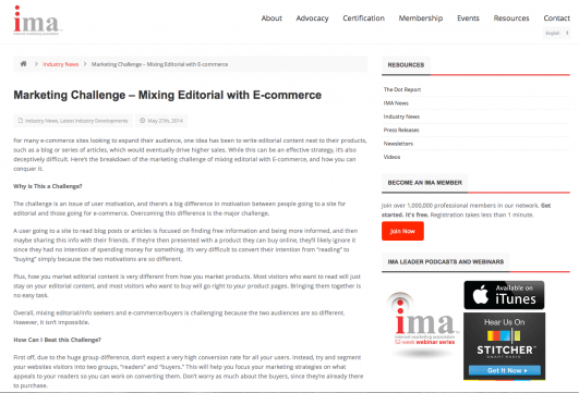 Marketing Challenge- mixing Editorial with E-commerce